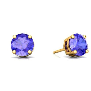 2 Ct Tanzanite Round Stud Earrings 14Kt Yellow Gold