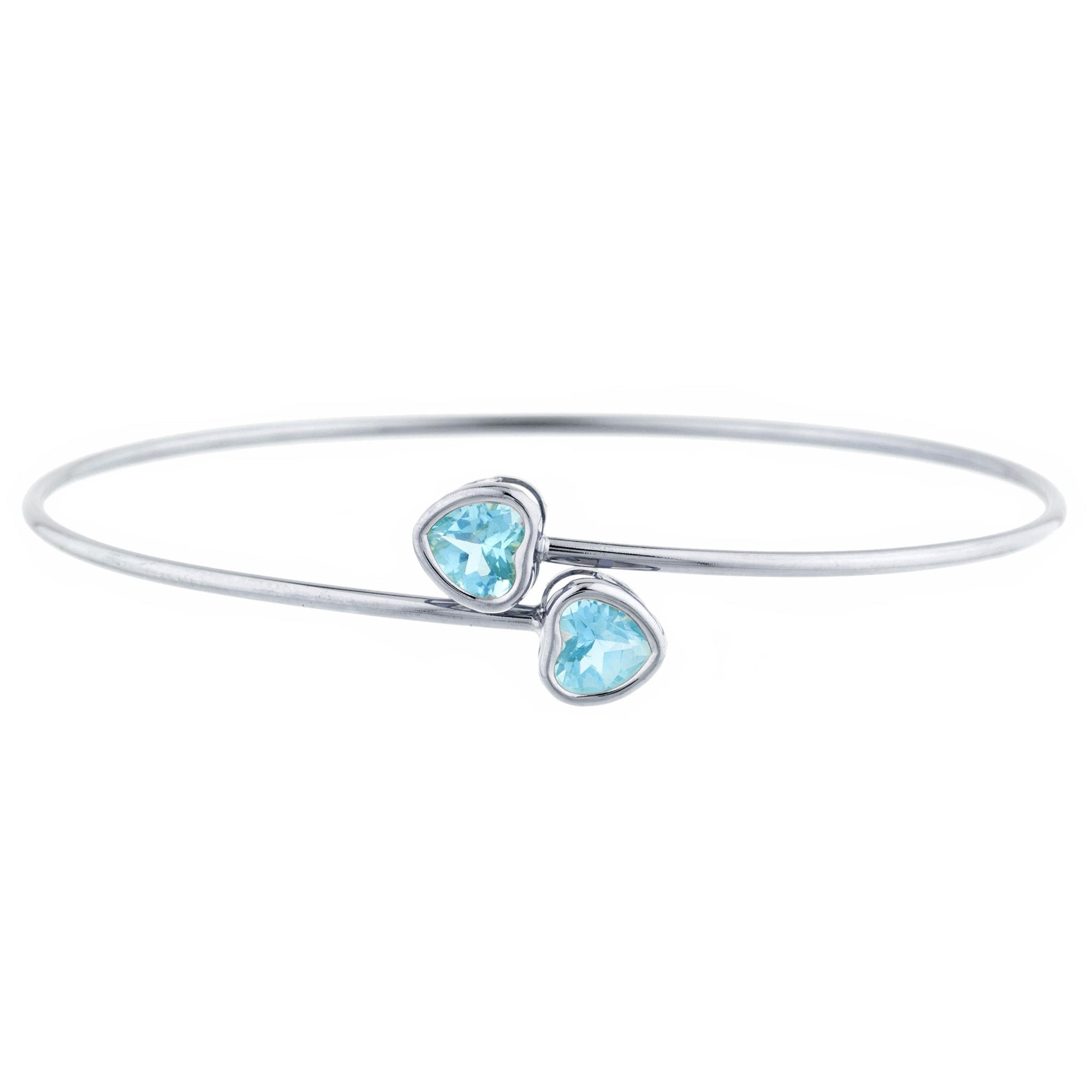 2 Ct Blue Topaz Heart Bezel Bangle Bracelet .925 Sterling Silver