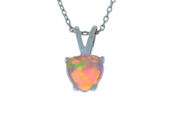 6mm Pink Opal Heart Pendant .925 Sterling Silver Rhodium Finish