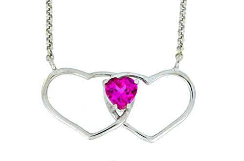 1 Ct Pink Sapphire Double Heart Pendant .925 Sterling Silver Rhodium Finish