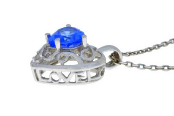 1 Ct Tanzanite & Diamond Heart Love Engraved Pendant .925 Sterling Silver Rhodium Finish