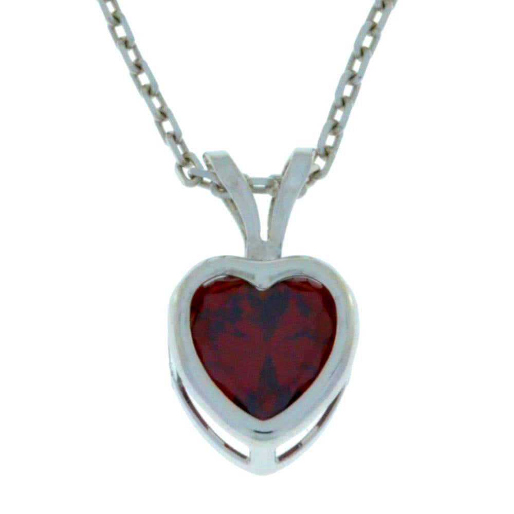 1 Ct Garnet Heart Bezel Pendant .925 Sterling Silver Rhodium Finish