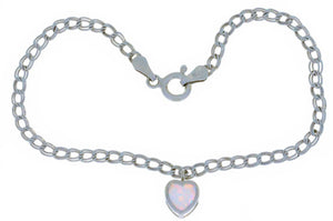 Opal Heart Bezel Bracelet .925 Sterling Silver Rhodium Finish [Jewelry]
