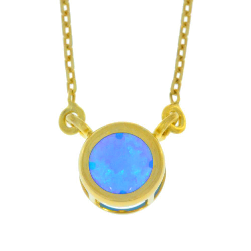 Blue Opal Round Bezel Pendant 14Kt Yellow Gold Plated