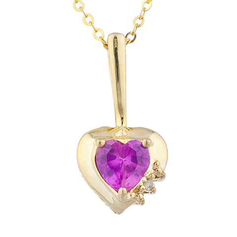 14Kt Gold Pink Sapphire & Diamond Heart Design Pendant Necklace