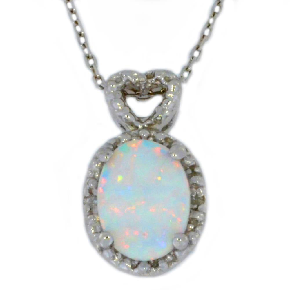 8x6mm Opal & Diamond Oval Heart Pendant .925 Sterling Silver Rhodium Finish