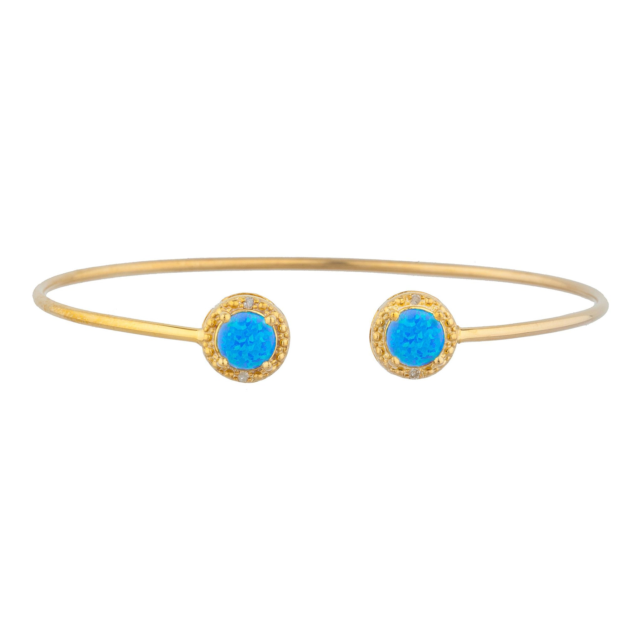 14Kt Yellow Gold Plated Blue Opal & Diamond Round Bangle Bracelet