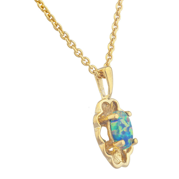 14Kt Yellow Gold Plated Black Opal Oval Design Pendant