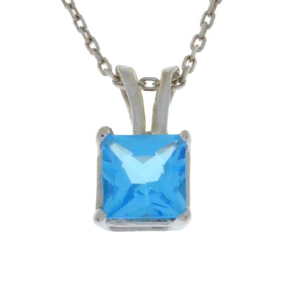 1 Ct Blue Topaz Princess Cut Pendant .925 Sterling Silver Rhodium Finish