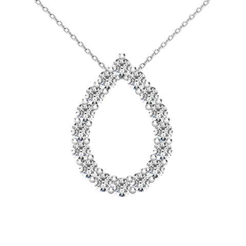14Kt White Gold 0.38 Ct Genuine Natural Diamond Open Pear Teardrop Design Pendant Necklace