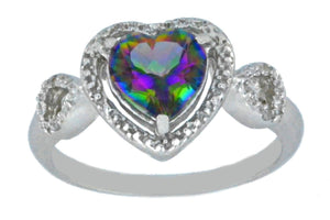 1.5 Ct Mystic Topaz & Diamond Heart Ring .925 Sterling Silver Rhodium Finish