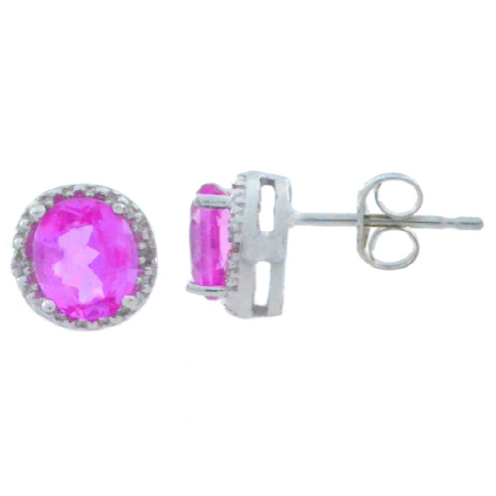 2 Ct Pink Sapphire & Diamond Round Stud Earrings 14Kt White Gold