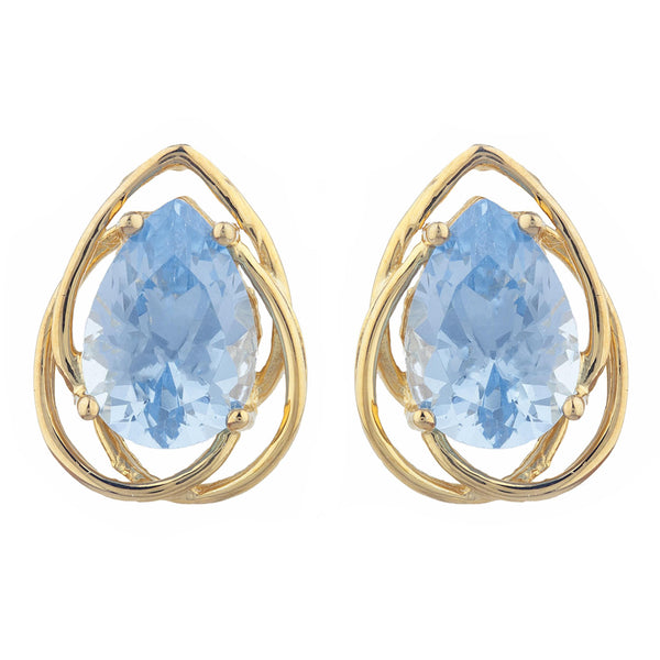 14Kt Gold 4 Ct Aquamarine Pear Teardrop Design Stud Earrings