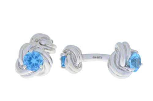 2.5 Ct Blue Topaz Knot Cufflinks .925 Sterling Silver Rhodium Finish [Jewelry]