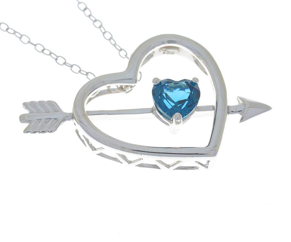 London Blue Topaz Heart Bow & Arrow Pendant .925 Sterling Silver Rhodium Finish