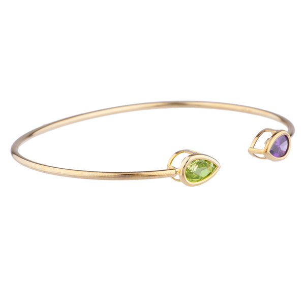 Peridot & Alexandrite Pear Bezel Bangle Bracelet 14Kt Yellow Gold Plated Over .925 Sterling Silver