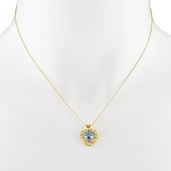 14Kt Yellow Gold Plated Blue Topaz Heart Design Pendant
