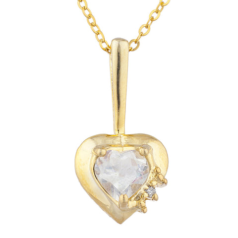 14Kt Gold White Sapphire & Diamond Heart Design Pendant Necklace