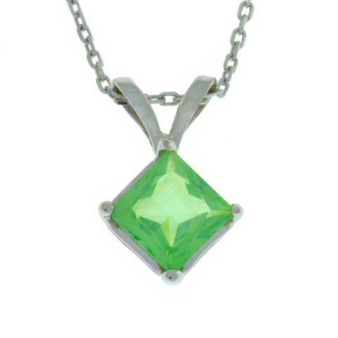 14Kt Gold Green Sapphire Princess Cut Pendant Necklace