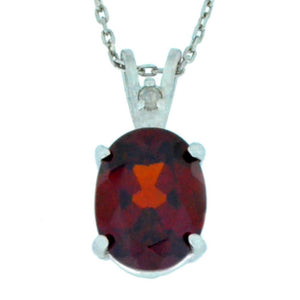 2.5 Ct Garnet & Diamond Oval Pendant .925 Sterling Silver Rhodium Finish