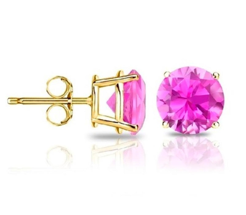 14Kt Yellow Gold Pink Sapphire Round Stud Earrings