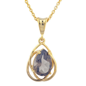 14Kt Yellow Gold Plated Genuine Smoky Topaz Pear Teardrop Design Pendant