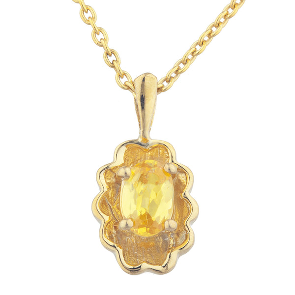 14Kt Yellow Gold Plated Yellow Citrine Oval Design Pendant