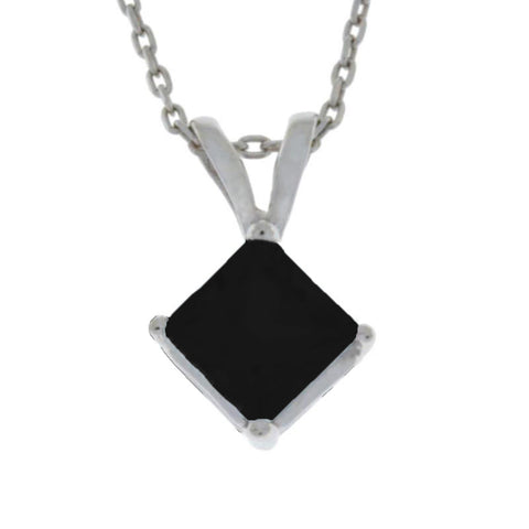 14Kt Gold Genuine Black Onyx Princess Cut Pendant Necklace