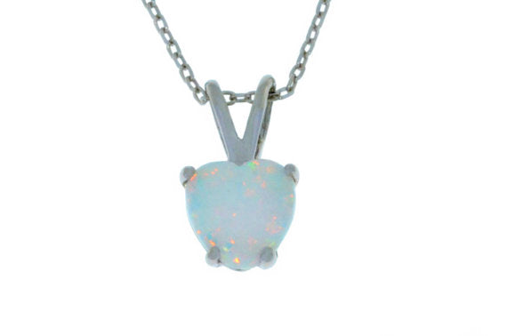 6mm Opal Heart Pendant .925 Sterling Silver Rhodium Finish