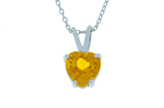 1 Ct Yellow Citrine Heart Pendant .925 Sterling Silver Rhodium Finish