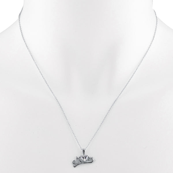 0.50 Ct Zirconia & Diamond Heart Mom Pendant .925 Sterling Silver