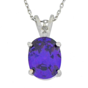 2.5 Ct Amethyst & Diamond Oval Pendant .925 Sterling Silver Rhodium Finish