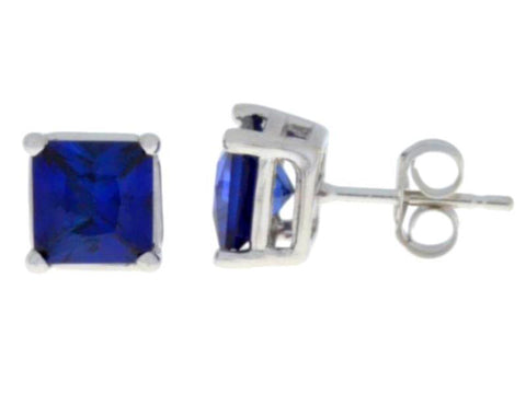 2 Ct Created Blue Sapphire Princess Cut Stud Earrings .925 Sterling Silver