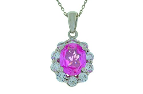 4 Ct Pink Sapphire & White Topaz Oval Pendant .925 Sterling Silver Rhodium Finish