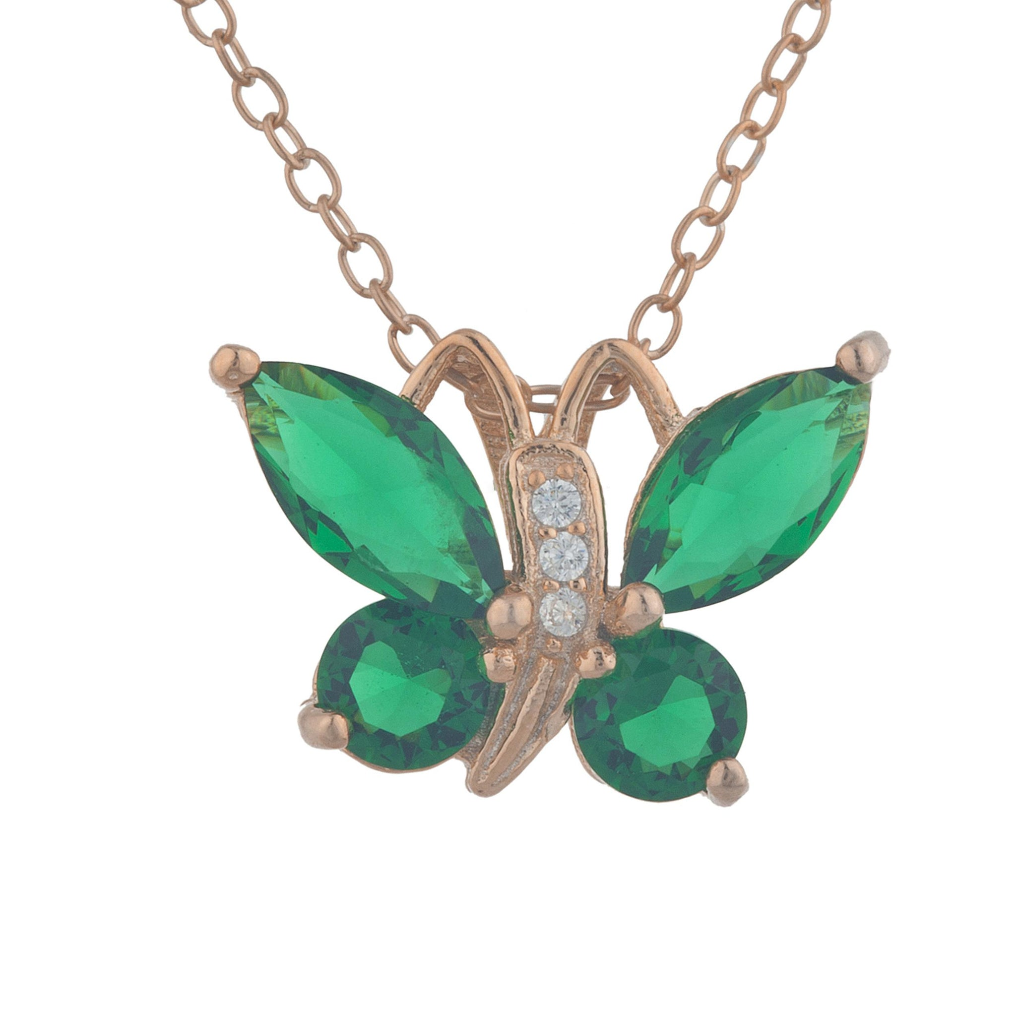 14Kt Rose Gold Plated Emerald Butterfly Pendant
