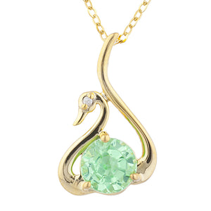 14Kt Yellow Gold Plated Green Sapphire & Diamond Swan Pendant