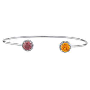 Citrine & Garnet Diamond Bangle Round Bracelet .925 Sterling Silver Rhodium Finish