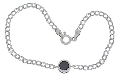 1 Ct Black Onyx Round Bezel Bracelet .925 Sterling Silver Rhodium Finish