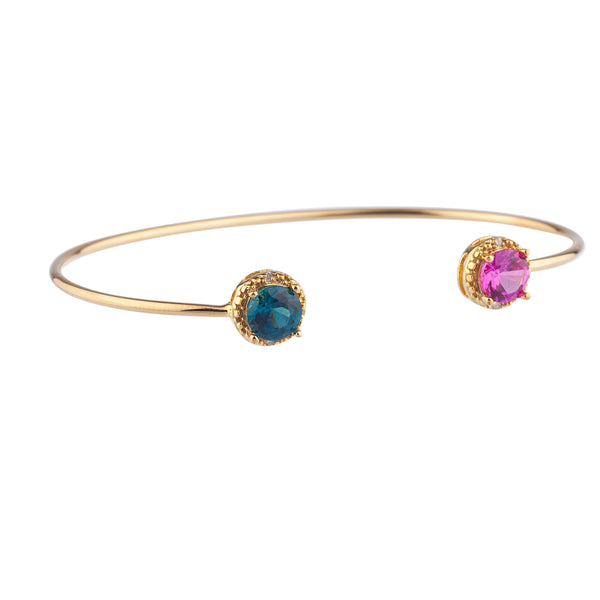 Pink Sapphire & London Blue Topaz Diamond Bangle Round Bracelet 14Kt Yellow Gold Plated Over .925 Sterling Silver