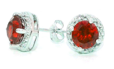 2 Ct Garnet & Diamond Round Stud Earrings 14Kt White Gold