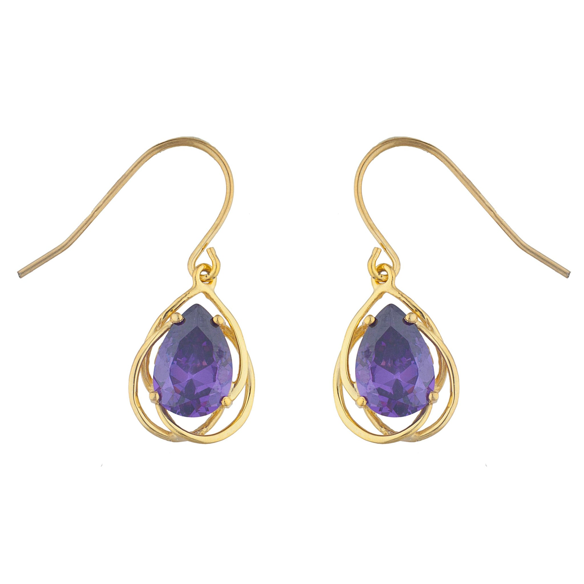 14Kt Yellow Gold Plated Amethyst Pear Teardrop Design Dangle Earrings