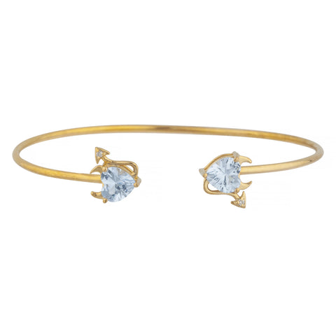 Genuine Aquamarine & Diamond Devil Heart Bangle Bracelet 14Kt Yellow Gold Rose Gold Silver