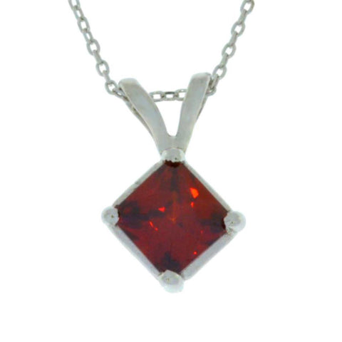 14Kt Gold Garnet Princess Cut Pendant Necklace