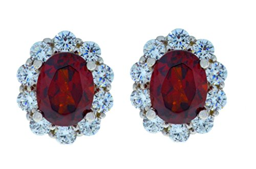 8 Ct Garnet & Zirconia Oval Stud Earrings .925 Sterling Silver