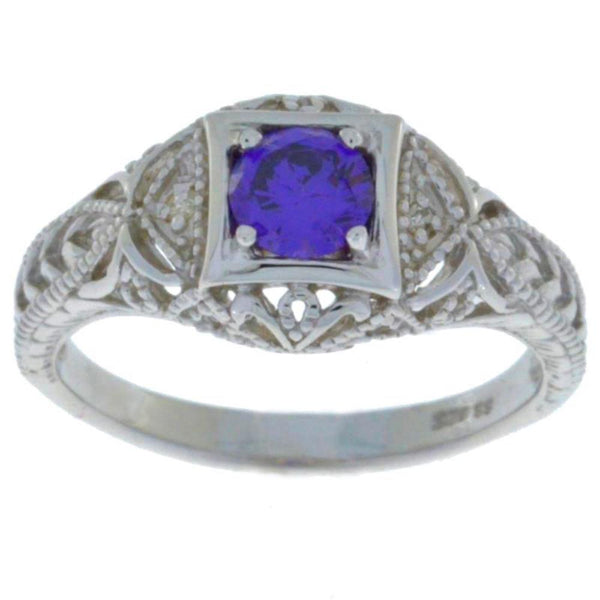 0.50 Ct Amethyst & Diamond Round Ring .925 Sterling Silver
