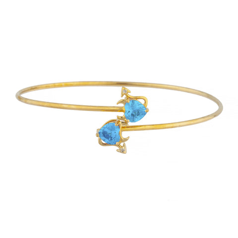 14Kt Gold Swiss Blue Topaz & Diamond Devil Heart Bangle Bracelet