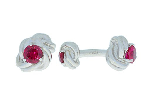 2.5 Ct Ruby Knot Cufflinks .925 Sterling Silver Rhodium Finish [Jewelry]