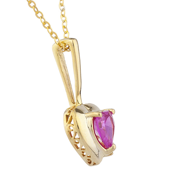 14Kt Yellow Gold Plated Pink Sapphire & Diamond Heart Pendant