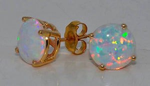 OPAL STUD EARRINGS 14KT YELLOW GOLD