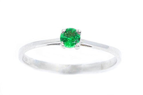 3mm Emerald Round Ring .925 Sterling Silver Rhodium Finish